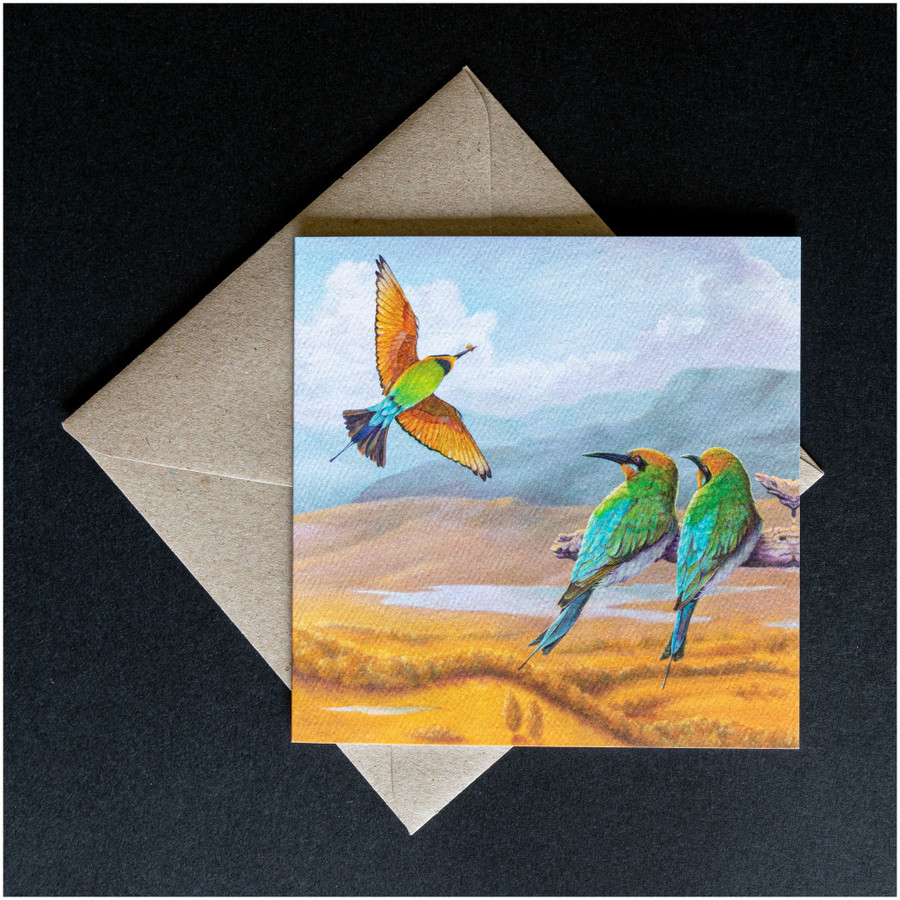 'Rainbow Bee-eaters' greeting card shown with the envelope supplied