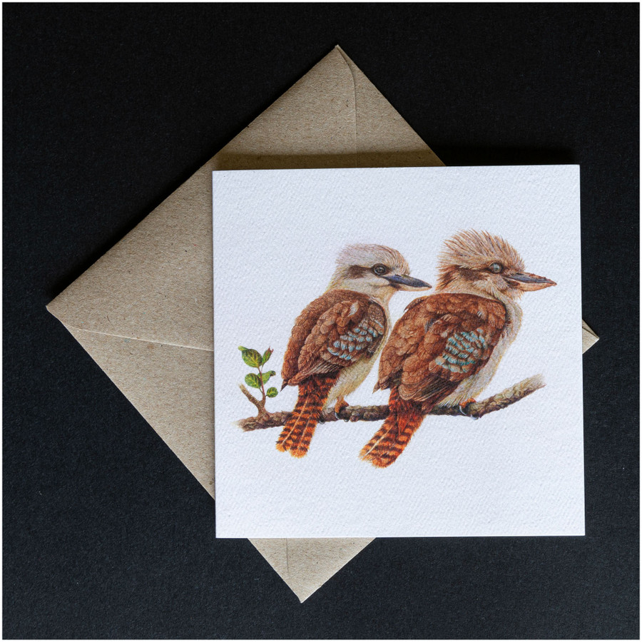 'Two Kookaburras' greeting card shown with the envelope supplied