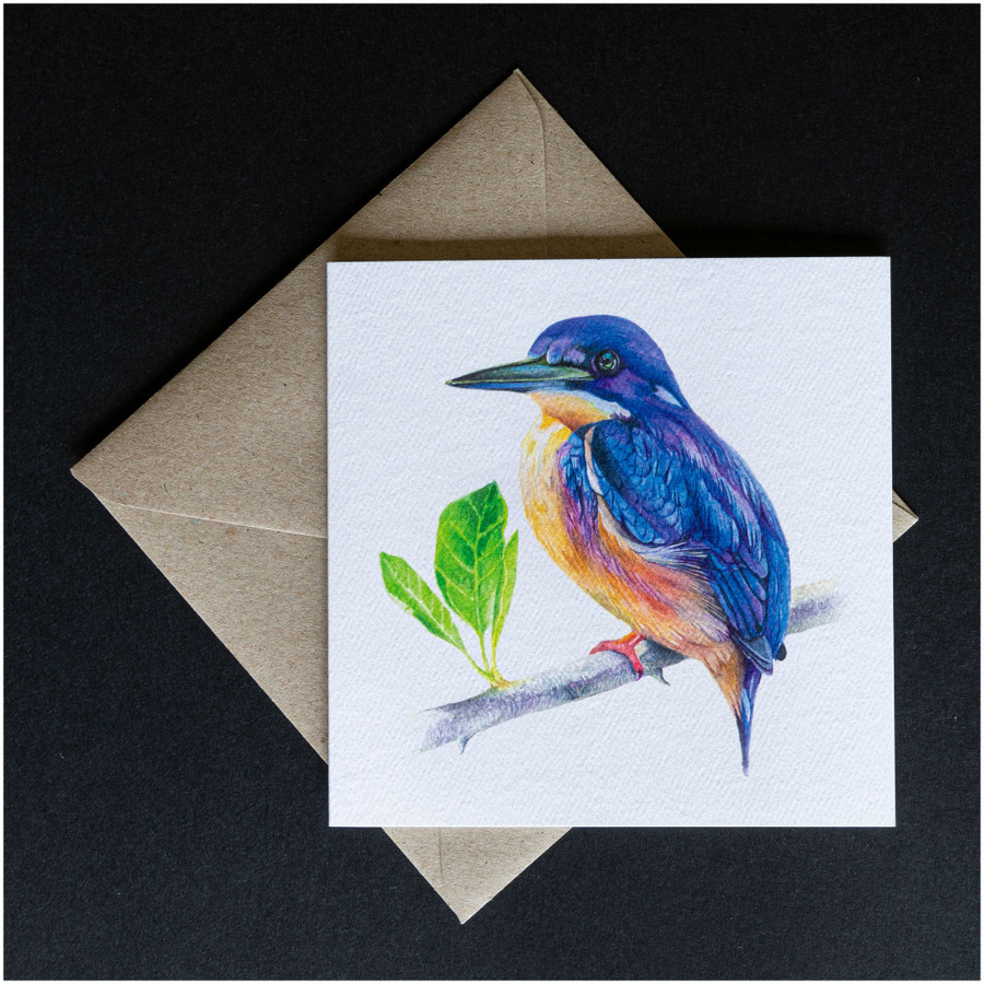 'Azure Kingfisher' greeting card shown with the envelope supplied