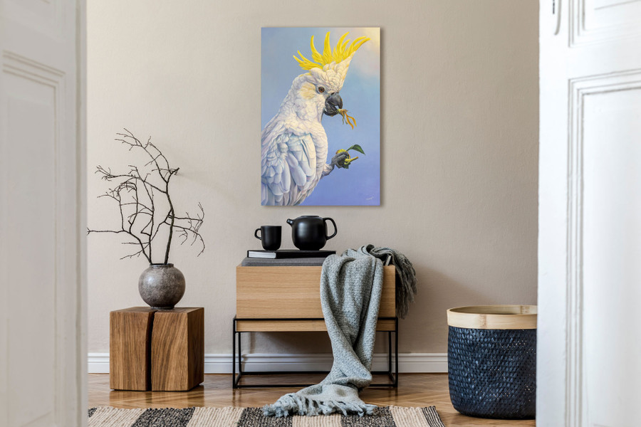 """""""The Sunflower Thief"""" oil painting shown in home setting"""