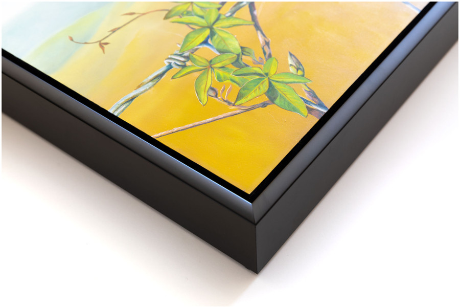 """Corner close up of the frame used for """"Floral Affair"""" oil painting by Swapnil Nevgi"""