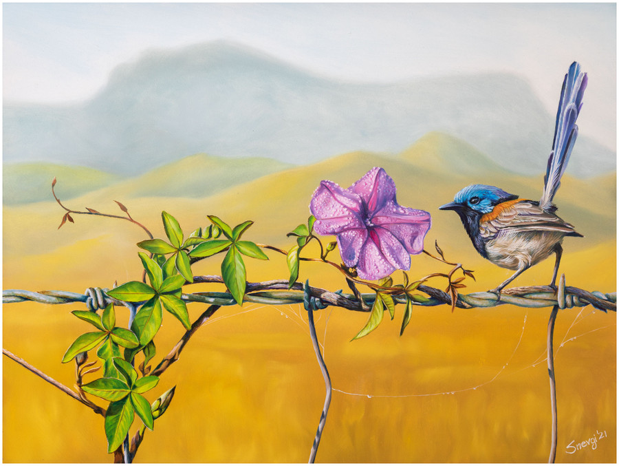"""""""Floral Affair"""" - an original oil painting by Swapnil Nevgi showing  variegated fairy wren intrigued by dew drop on a flower"""