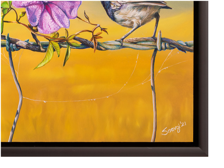 """Signature close up of the oil painting """"Floral Affair"""" by Swapnil Nevgi"""