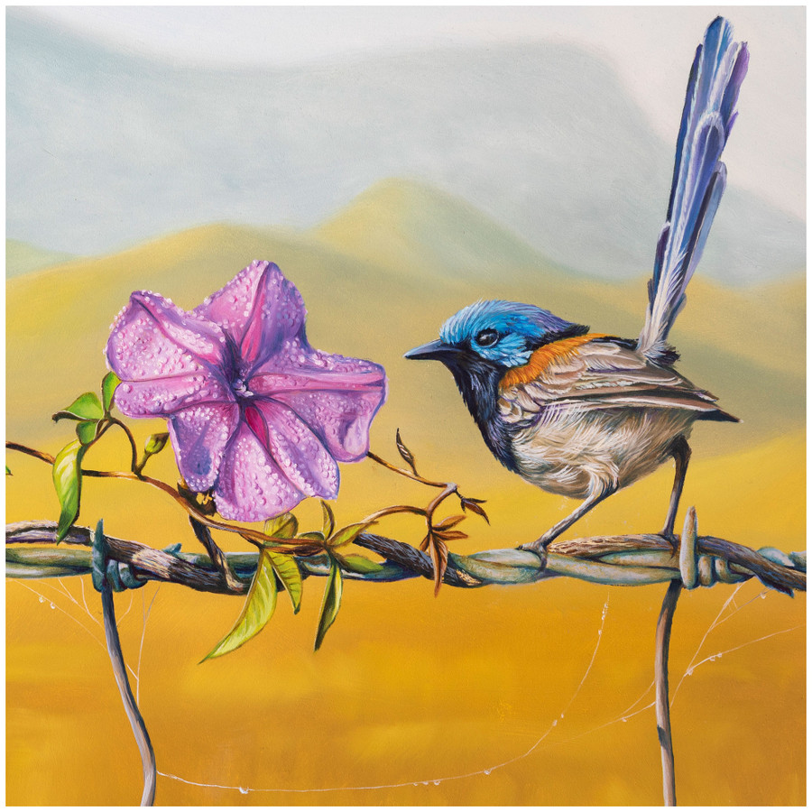 """Close up of the bird and flower in the oil painting """"Floral Affair"""" by Swapnil Nevgi"""