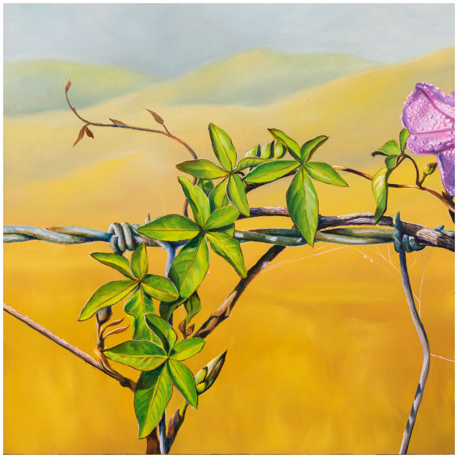 """Close up of the leaves in the oil painting """"Floral Affair"""" by Swapnil Nevgi"""