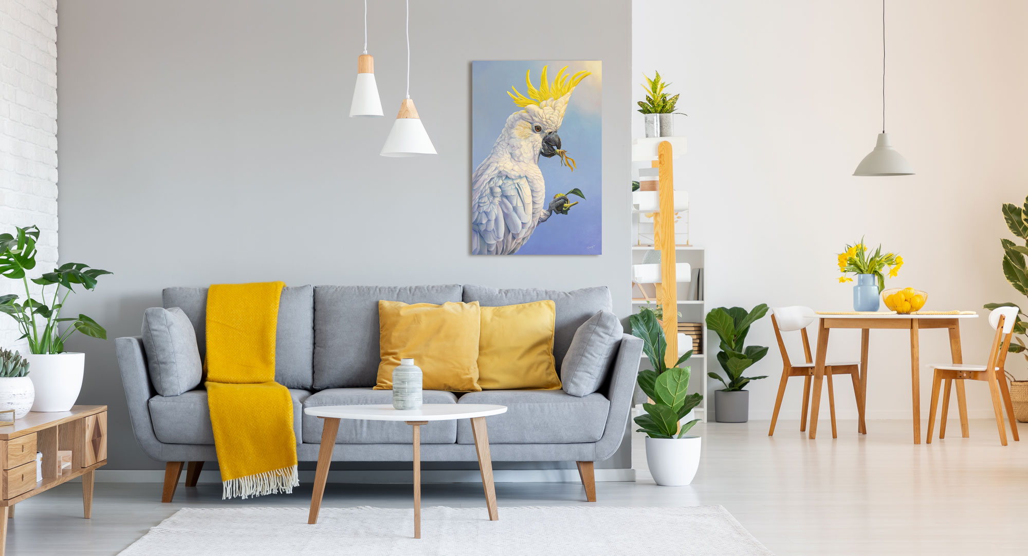 """""""The Sunflower Thief"""" - oil painting by Swapnil Nevgi of Sulphur crested cockatoo shown in home setting"""