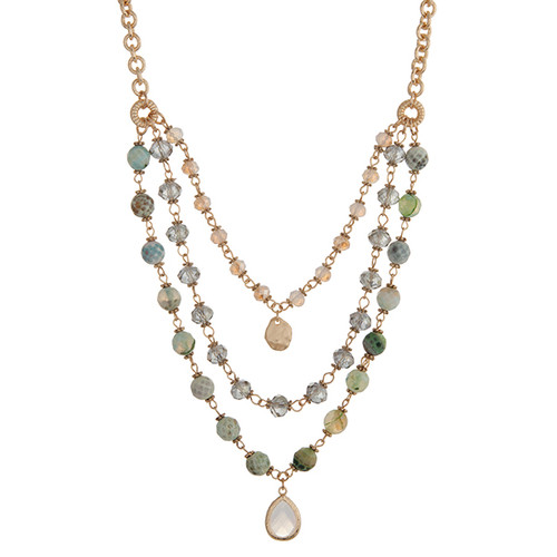 "Gold tone layering necklace displaying mint green beads with a small white teardrop shape cabochon. Approximately 23"" in length."
