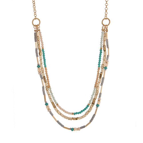 "Gold tone layering necklace displaying turquoise, ivory, and metal beads. Approximately 31"" in length."