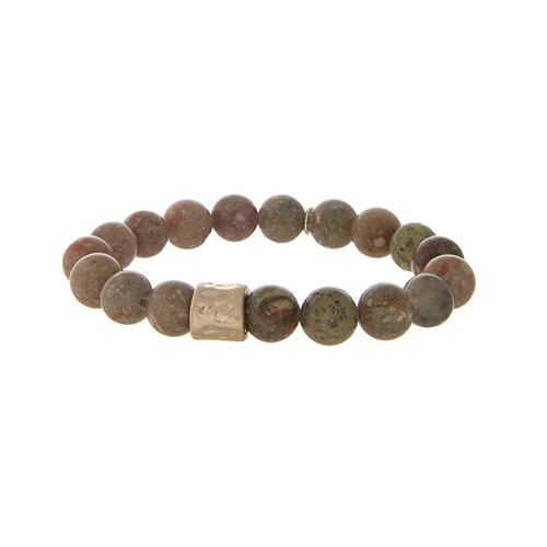 Brown stone beaded stretch bracelet
