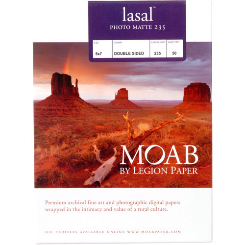 "Moab Lasal Photo Matte 235 Paper- 5 x 7"", 50 Sheets"