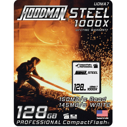 Hoodman Steel 1000x Compact Flash Memory Card- 128gb