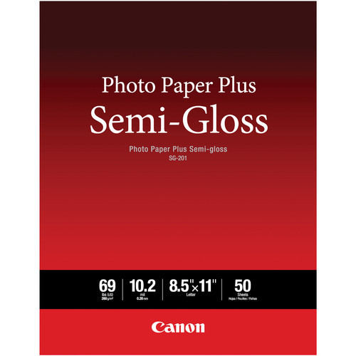 "Canon SG-201 Photo Paper Plus Semi-Gloss- 8.5 x 11"", 50 Sheets"
