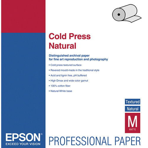 "Epson Cold Press Natural Archival Inkjet Paper- 24"" x 50' Roll"