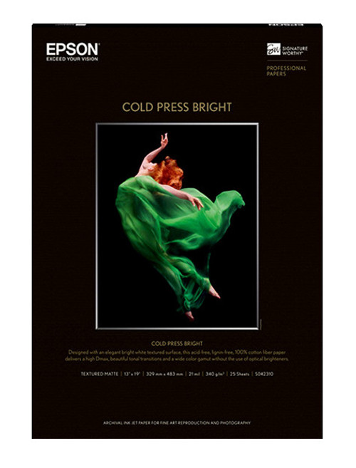 "Epson Cold Press Bright Paper - 13 x 19"", 25 Sheets"