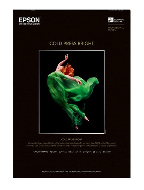 """Epson Cold Press Bright Paper - 13 x 19"""", 25 Sheets"""
