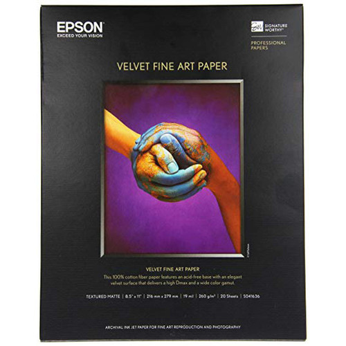 """Epson Velvet Fine Art Paper- 8.5 x 11"""", 20 Sheets"""