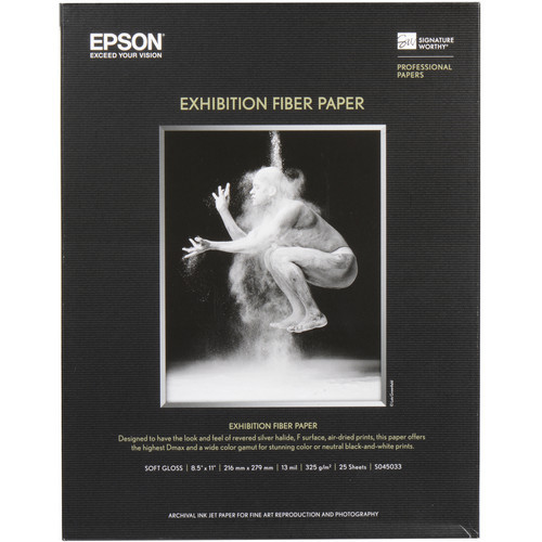 "Epson Exhibition Fiber Paper- 8.5 x 11"", 25 Sheets"
