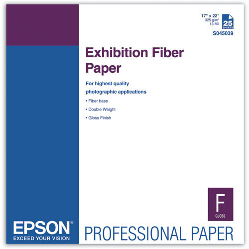"Epson Exhibition Fiber Paper- 17 x 22"", 25 Sheets"