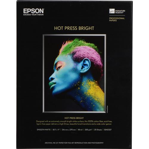 "Epson Hot Press Bright Paper- 8.5 x 11"", 25 Sheets"