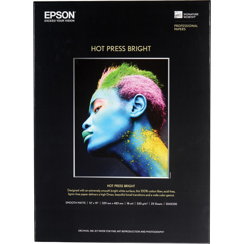 "Epson Hot Press Bright Paper- 13 x 19"", 25 Sheets"