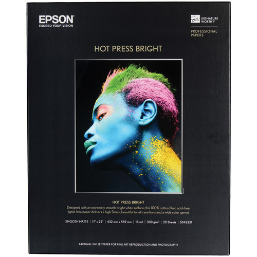 "Epson Hot Press Bright Paper- 17 x 22"", 25 Sheets"