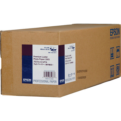 "Epson Premium Luster Photo Inkjet Paper- 16"" x 100' Roll"
