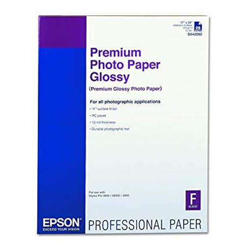 "Epson Premium Photo Paper Glossy- 17 x 22"", 25 Sheets"