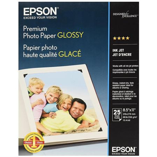 "Epson Premium Photo Paper Glossy- 8.5 x 11"", 25 Sheets"