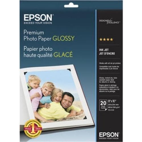 "Epson Premium Photo Paper Glossy- 8 x 10"", 20 Sheets"