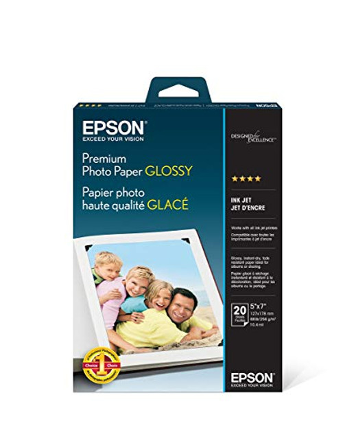 "Epson Premium Photo Paper Glossy- 5 x 7"", 20 Sheets"