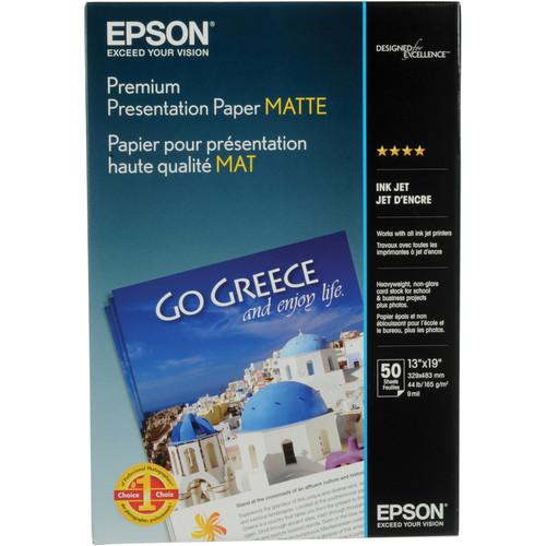 "Epson Premium Presentation Paper Matte- 13 x 19"", 50 Sheets"