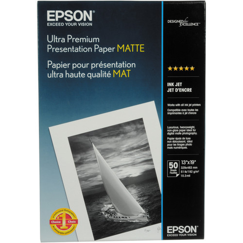 "Epson Ultra Premium Presentation Paper Matte- 13 x 19"", 50 Sheets"