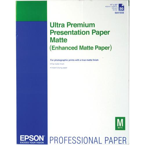 "Epson Ultra Premium Presentation Paper Matte- 17 x 22"", 50 Sheets"