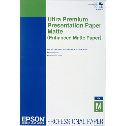 "Epson Ultra Premium Presentation Paper Matte- 13 x 19"", 100 Sheets"