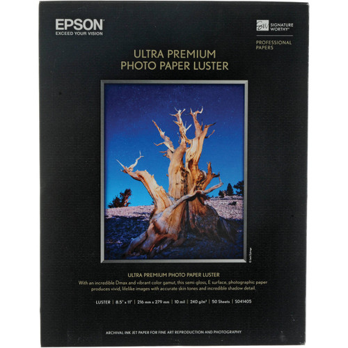 "Epson Ultra Premium Photo Paper Luster- 8.5 x 11"", 50 Sheets"