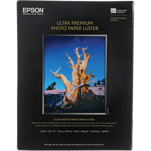 "Epson Ultra Premium Photo Paper Luster- 8.5 x 11"", 250 Sheets"