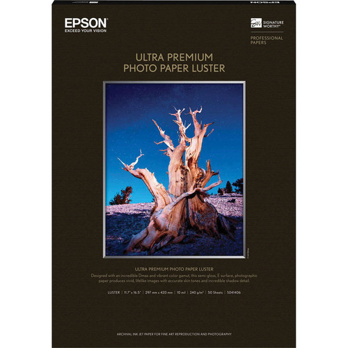 """Epson Ultra Premium Photo Paper Luster- A3 11.7 x 16.5"""", 50 Sheets"""