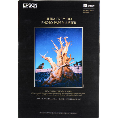 "Epson Ultra Premium Photo Paper Luster- 13 x 19"", 50 Sheets"