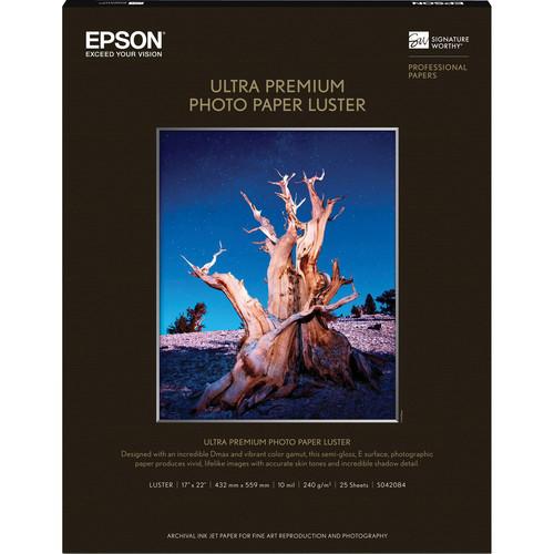 "Epson Ultra Premium Photo Paper Luster- 17 x 22"", 25 Sheets"
