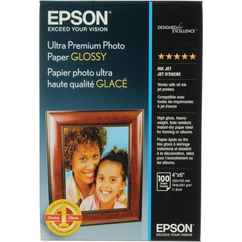 "Epson Ultra Premium Photo Paper Glossy- 4 x 6"", 100 Sheets"