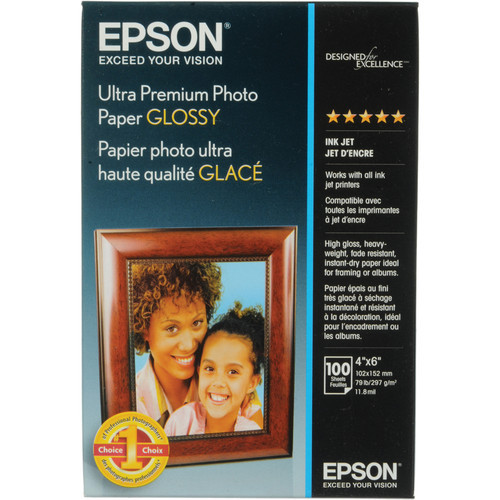 "Epson Ultra Premium Photo Paper Glossy- 4 x 6"", 100 Sheets"
