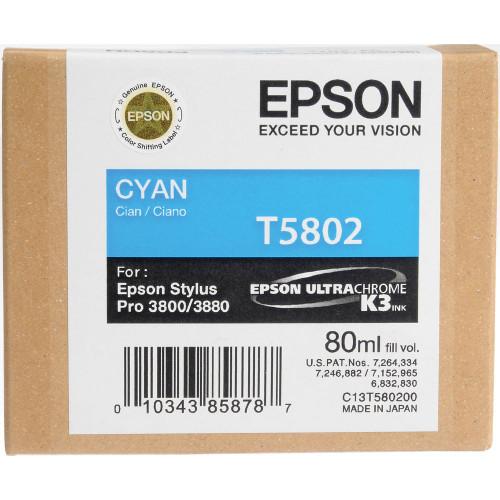Epson T580 UltraChrome K3 Ink Cartridge 80ml- Cyan