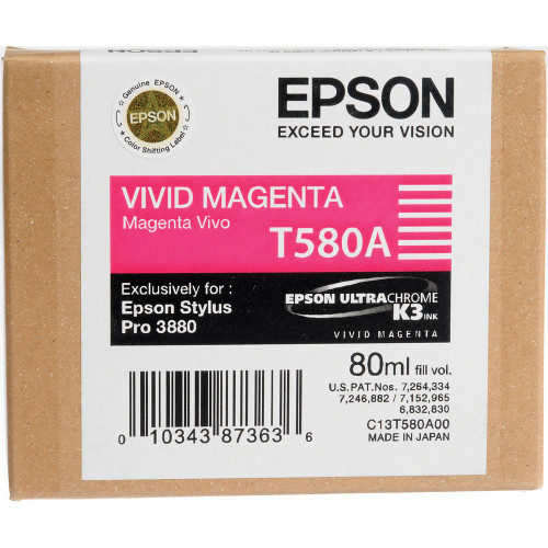 Epson T580 UltraChrome K3 Ink Cartridge 80ml- Vivid Magenta