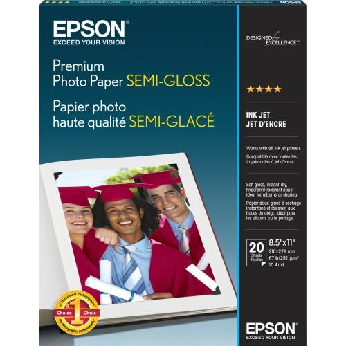 """Epson Premium Photo Paper Semi-Gloss- 8.5 x 11"""", 20 Sheets"""