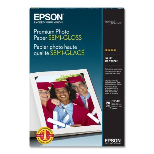 """Epson Premium Photo Paper Semi-Gloss- 13 x 19"""", 20 Sheets"""