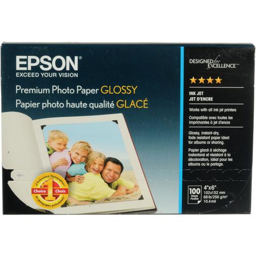 "Epson Premium Photo Paper Glossy- 4 x 6"", 100 Sheets"