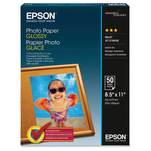 """Epson Photo Paper Glossy- 8.5 x 11"""", 50 Sheets"""