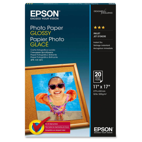 "Epson Photo Paper Glossy- 11 x 17"", 20 Sheets"