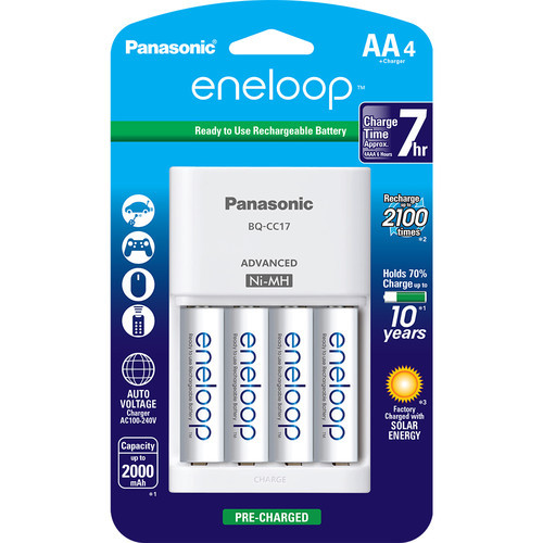 Panasonic Eneloop AA Rechargeable Ni-MH Batteries with Charger - Pack of 4