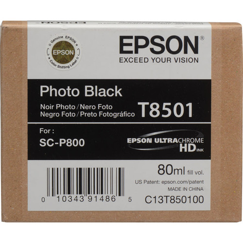 Epson T850 UltraChrome HD Ink Cartridge 80 ml- Photo Black